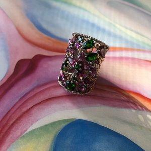 Amethyst/emerald silver ring. Read listing